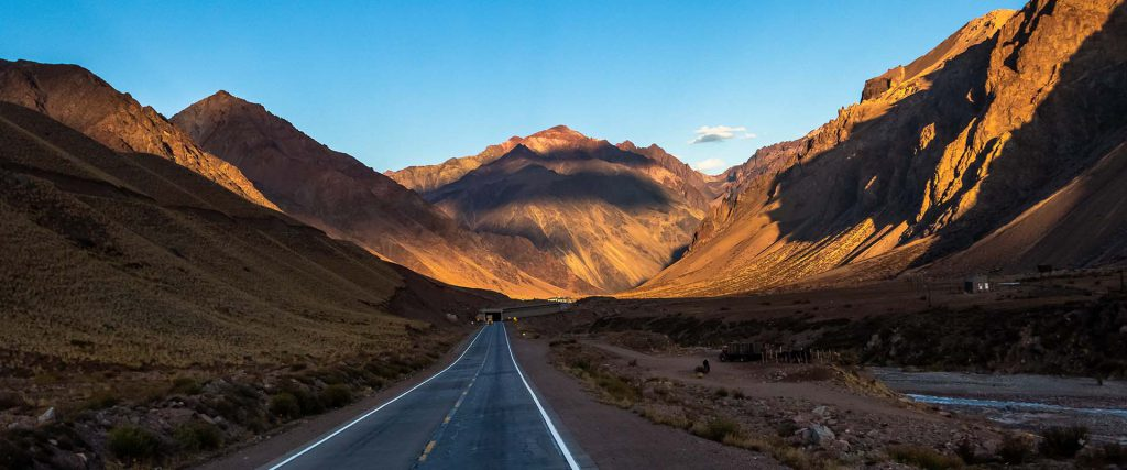 Sunset on Ruta 7 the road between Chile and Argentina through Co