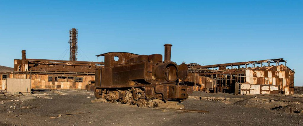 Old locomotives at Humberstone historic Saltpetre works in north